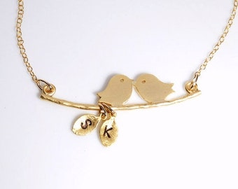 Lovebird necklace, Personalized necklace in gold, initials, birthday gift, wedding jewelry, gold love birds, 14K gold filled necklace