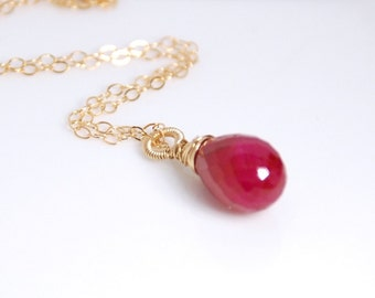 Genuine ruby teardrop necklace, 14K gold filled necklace