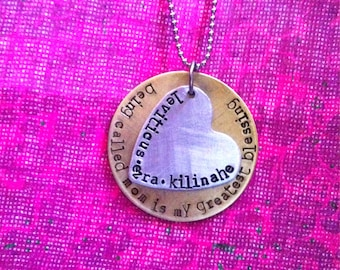Being Called Mom Is My Greates Blessing....Hand Stamped Necklace