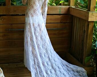 White Lace Bridal Nightgown With Train Wedding Lingerie Bridal Sleepwear Lingerie Honeymoon Trousseau Beach Wedding