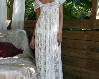 Sheer Lace Bridal Nightgown Wedding Lingerie Romance Boudoir Honeymoon Off Shoulder Drop Cap Sleeve Sleepwear