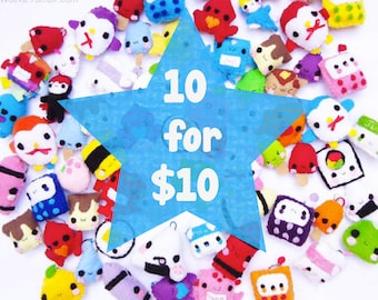 Ten Keychains for Ten Dollars - Food Keychain, Kawaii Keychain, Felt Food, Animal Keychain, Stocking Stuffer