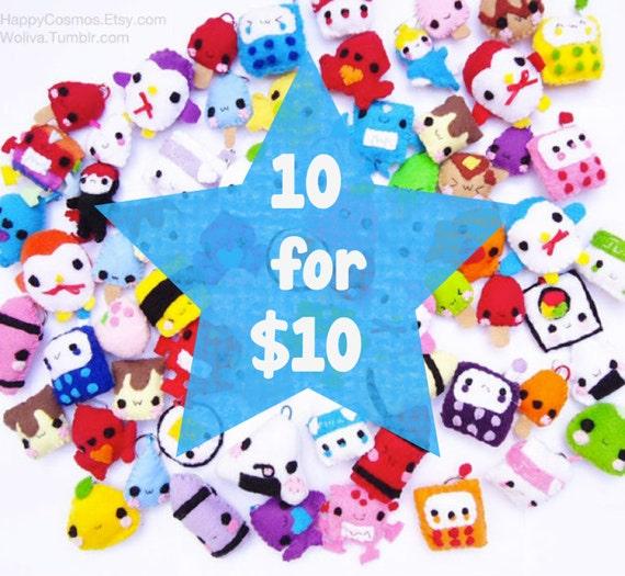 Ten Keychains for Ten Dollars - Food Keychain, Kawaii Keychain, Felt Food, Animal Keychain, Stocking Stuffer