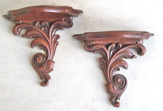 A Pair of Mid Century Decorative Syroco Wood Wall