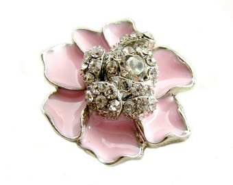 5  Pastel Pink Enamel Flower Rhinestone buttons - Wedding Bridemaid Hair Accessories Scrapbooking RB-059PP (size 23mm or 0.9 inch)
