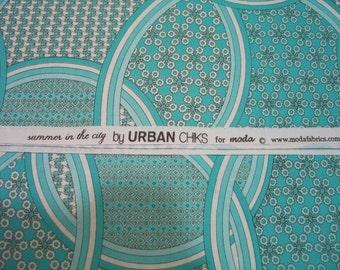 OOP -Urban Chicks -urban chiks- summer in the city-Aqua -Blue Circles-Moda FQ
