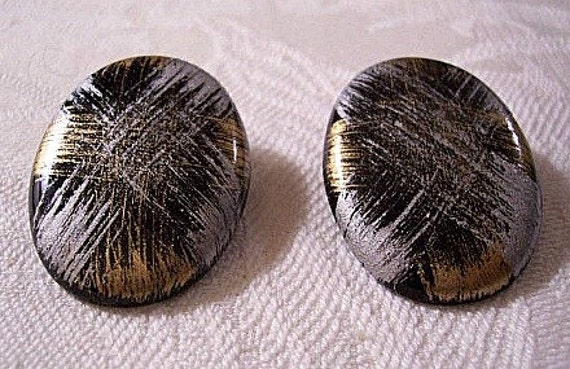 Black Grey Gold Clip On Earrings Silver Tone Vintage Large Oval Buttons