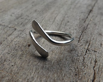 Sterling Silver Swoop Petal Ring, Hammered Ring, Modern Ring on Etsy.