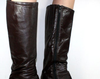 Vintage brown low heel campus knee high womens tall zip up flat fashion boots 8 N A