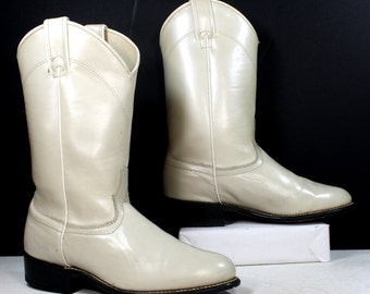Vintage Laredo Roper cowboy mid calf womens white cow boy cow girl Leather western fashion boots 6.5 B M