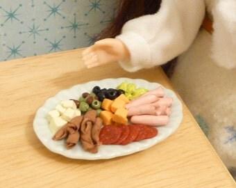 Miniature Dollhouse Antipasto Platter for Blythe, Barbie, Pullip, BJD 1:6 scale