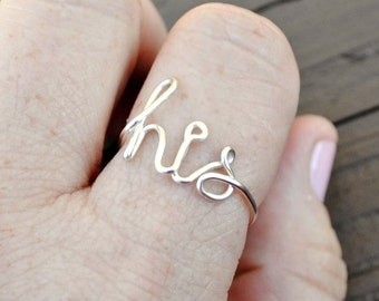 HIS Word Ring, Wire Word Ring, Non Tarnish Silver Plated Wire