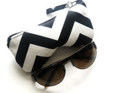 Chevron Eyeglass Case, Black and White Chevron Eyeglasses Case