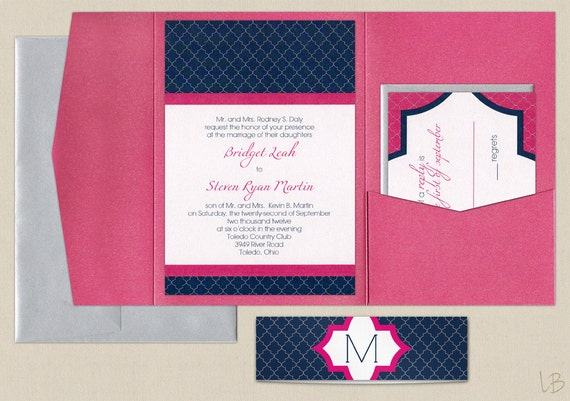 Pink And Navy Blue Wedding Invitations: Items Similar To Pink And Navy Pocket Wedding Invitation