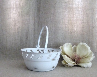 Chippy White Flower Girl Basket / Painted Brass Basket with Hearts