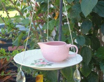 Glass Bird Feeder vintage pink floral china repurposed hanging