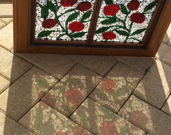 "Stained Glass Mosaic Window Wood Cabinet Door Repurpose ""Painting the Roses Red"""