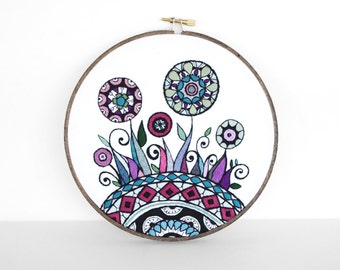 Embroidery Hoop Art, Abstract Flowers and Swirls Inspired by Mehndi in Warm Colors. Flower Garden 7 inch Hoop Wall Art by SometimesISwirl
