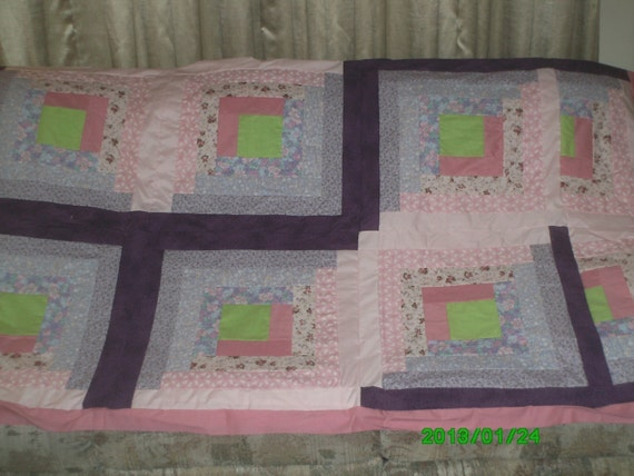Log Cabin Quilt Pattern Free Queen Size : Free Shipping Queen Sized Log Cabin Quilt Top Binding and