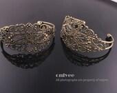 2pcs-35mmX66mmAntique Bronze Filigree Bracelet Setting,adjustable Blank Lead & Nickel Free(E308B)