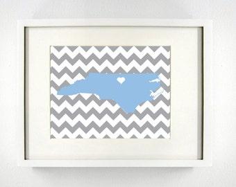 Chapel Hill, North Carolina State Giclée Map Art Print  - 8x10 -   Gray and Blue Map Print -  Graduation Gift Idea - Dorm Decor