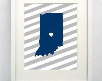 Indianapolis, Indiana State Giclée Map Art Print  - 8x10 - Graduation Gift Idea - Dorm Decor