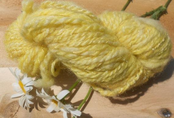 Handspun Blue Face Leicester Yellow Yarn: Liquid Sunshine II