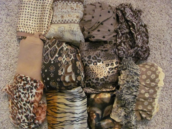 Instant Collection - Lot of 11 Vintage Scarves Long Square Assorted  - Browns Beige