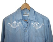 Vintage SPIRE CALIFORNIA Western Embroidered Cowboy Blue Shirt Pearl Snaps M Made In USA
