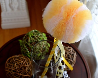 Sunny Yellow and White Tulle Puff  Magic Wand-Flower Girl Accessory