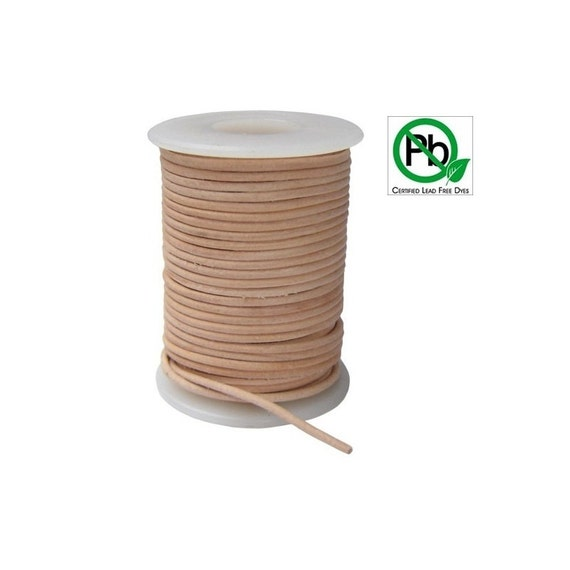 Round Leather Cord Natural  2mm 25meters