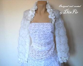 SALE Bridal SHRUG BOLERO / Wedding Bridesmaid Accessories Hand Knitted Gift Ideas / Women Crochet Elegant Jacket Cardigan Capelet Chic Cape