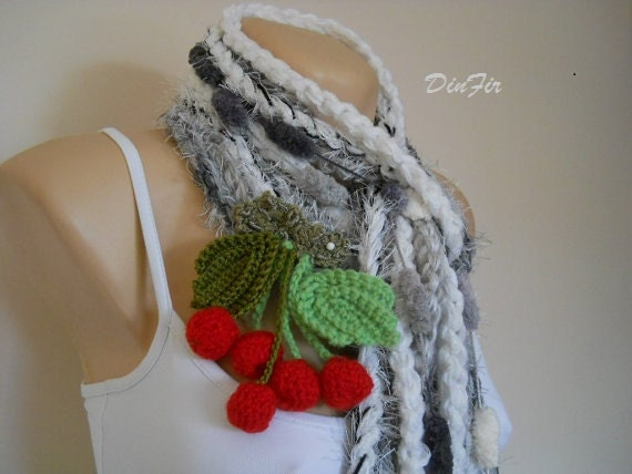 "CROCHETED  SCARF ""VANESA"" / Women Accessories Scarves Detachable Flowers Fashion Elegant / Hand Knitted Warm Romantic Winter Neckwarmer Chic"