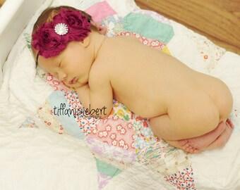 Cranberry/ Wine Chiffon Headband, shabby chic, newborn headband, baby headband, newborn photography prop