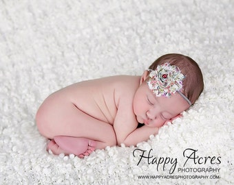 Floral Country/ Vintage Chiffon Headband, shabby chic, newborn headband, baby headband, newborn photography prop