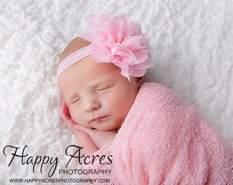 Pink chiffon and lace shabby chic headband....newborn headband, baby headband, photography prop FREE SHIPPING