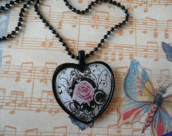 Pink Rose with Black Abstact Necklace