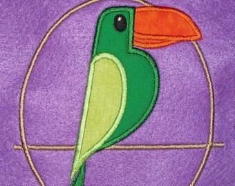 Green Teeke bird  appliqued t-shirt