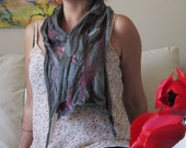 BAMBOO FELT SCARF - stone grey, cottage chic, boho, spring lightweight  silk and hand dyed merino nuno felted scarf, ooak