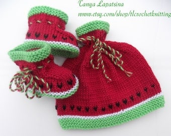 Hand Knit Watermelon Baby Hat and Booties Set. 3-6 months.