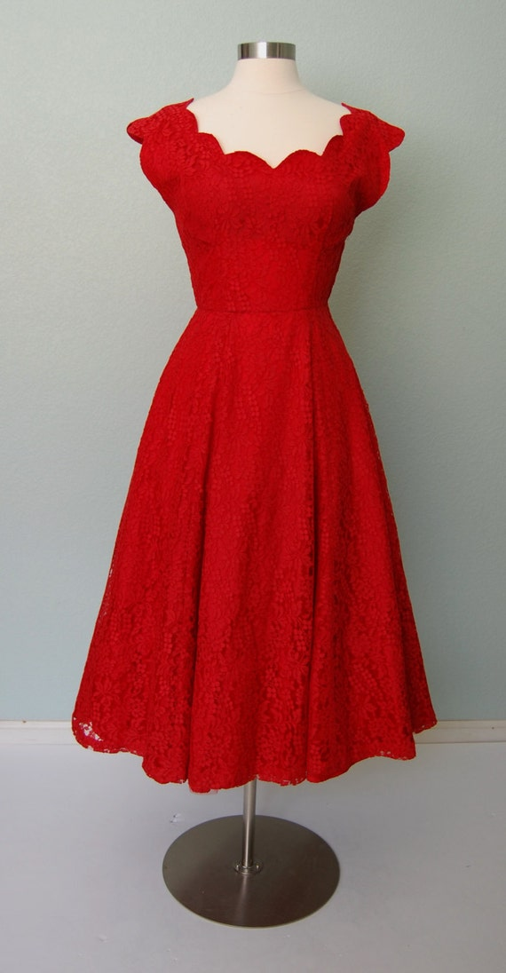 1950s Red Lace Party Dress with Scalloped by KittyGirlVintage