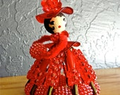 Vintage Safety Pin Doll Red Plastic Beads Pipe Cleaners Wooden Head