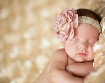 Dusty Rose Headband - Light Pink Flower Headband - Newborn Photo Prop - Dusty Rose Silk Flower Headband - Baby Headband