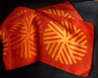 1960s Orange Geo Scarf with Circle Motif Bright Colors