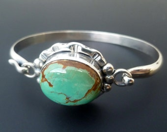 Made to Order Green Turquoise Bangle -  Sterling Silver and Green Brown Turquoise Bracelet - Custom Made