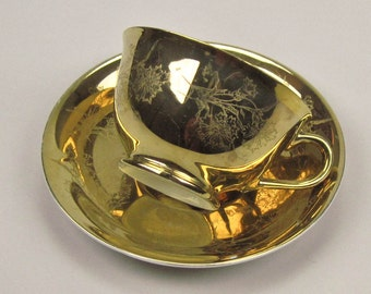 Teacup and Saucer Vintage 22k Gold with All Over Floral Etching
