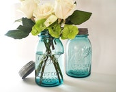 Blue Mason Jars, Turquoise Wedding Decor, Antique Ball Canning Jar, Table Setting Centerpiece Vase - vintagebiffann