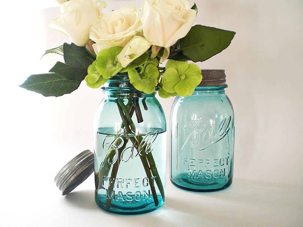 blue mason jars turquoise wedding decor antique by. Black Bedroom Furniture Sets. Home Design Ideas