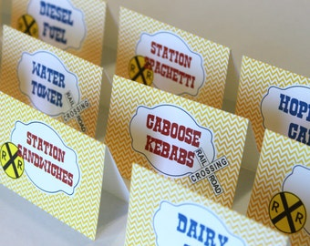 Train birthday party buffet, menu or place cards (12)  - birthday party, retro or vintage, candy buffet, candy bar, train baby shower