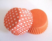 50 Orange Polka Dot Orange Solid Combo Standard Cupcake Liners Muffin Baking Cups
